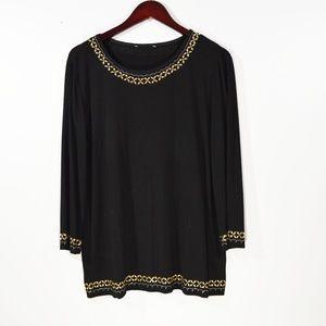 St. John Collection Tops - ST.JOHN COLLECTION Black Paillettes Knit Top M